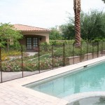 Removable Pool Fence Bronze straight line installation